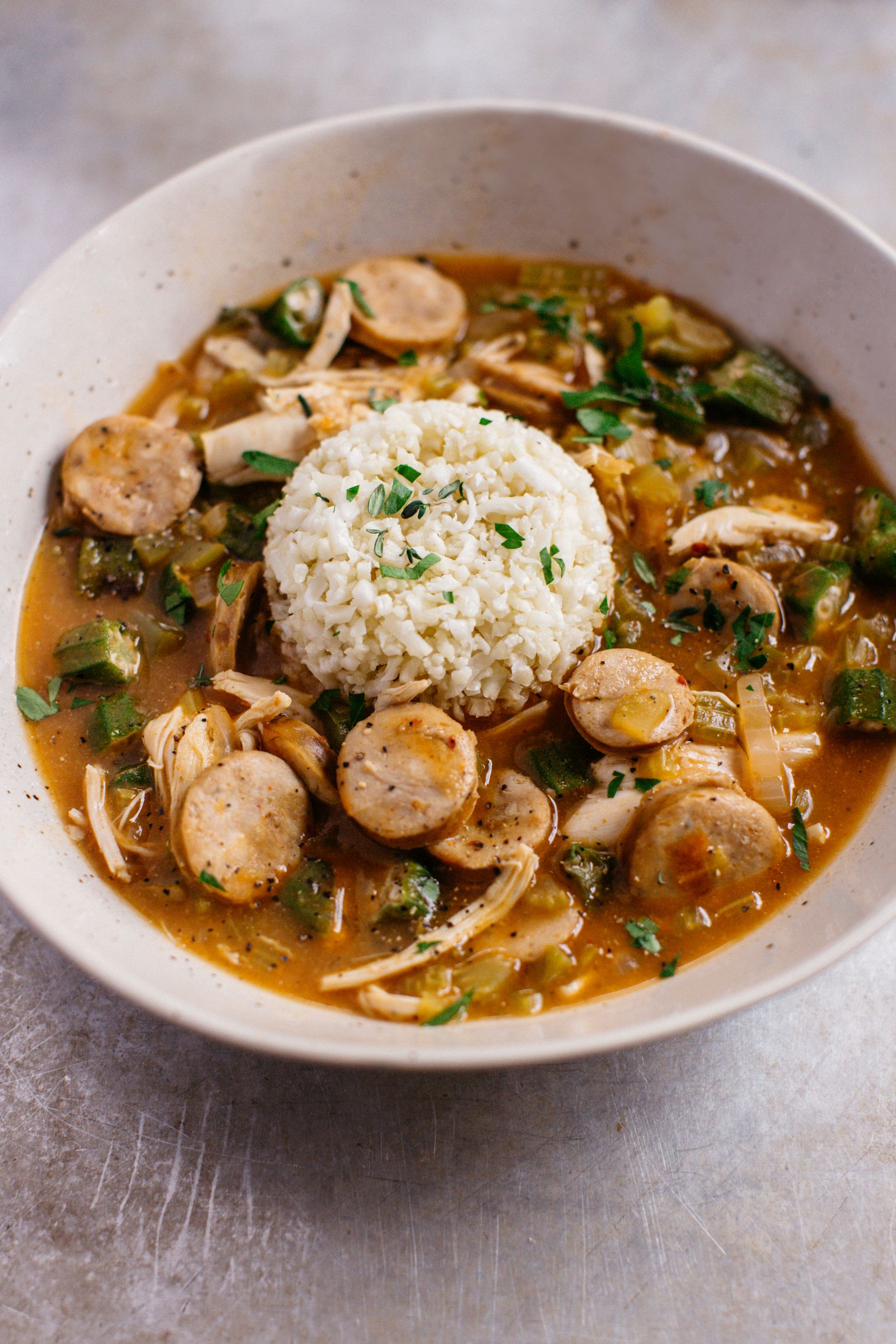 """Chicken and Sausage Gumbo from """"The Defined Dish: Whole30 Endorsed, Healthy and Wholesome Weeknight Recipes"""" by Alex Snodgrass"""