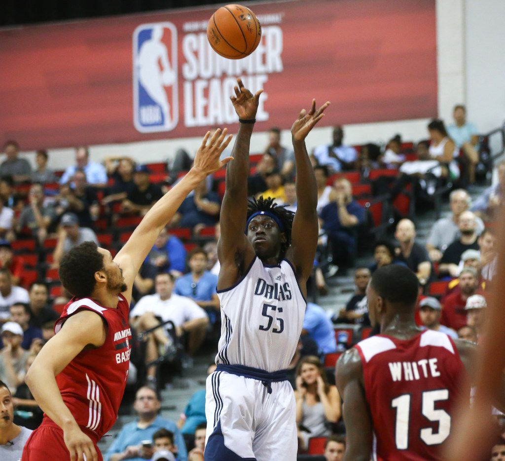 Dallas Mavericks' Johnathan Motley (55) shoots against the Miami Heat during a basketball game at the NBA Summer League at the Thomas & Mack Center in Las Vegas on Tuesday, July 11, 2017. Chase Stevens Las Vegas Review-Journal @csstevensphoto