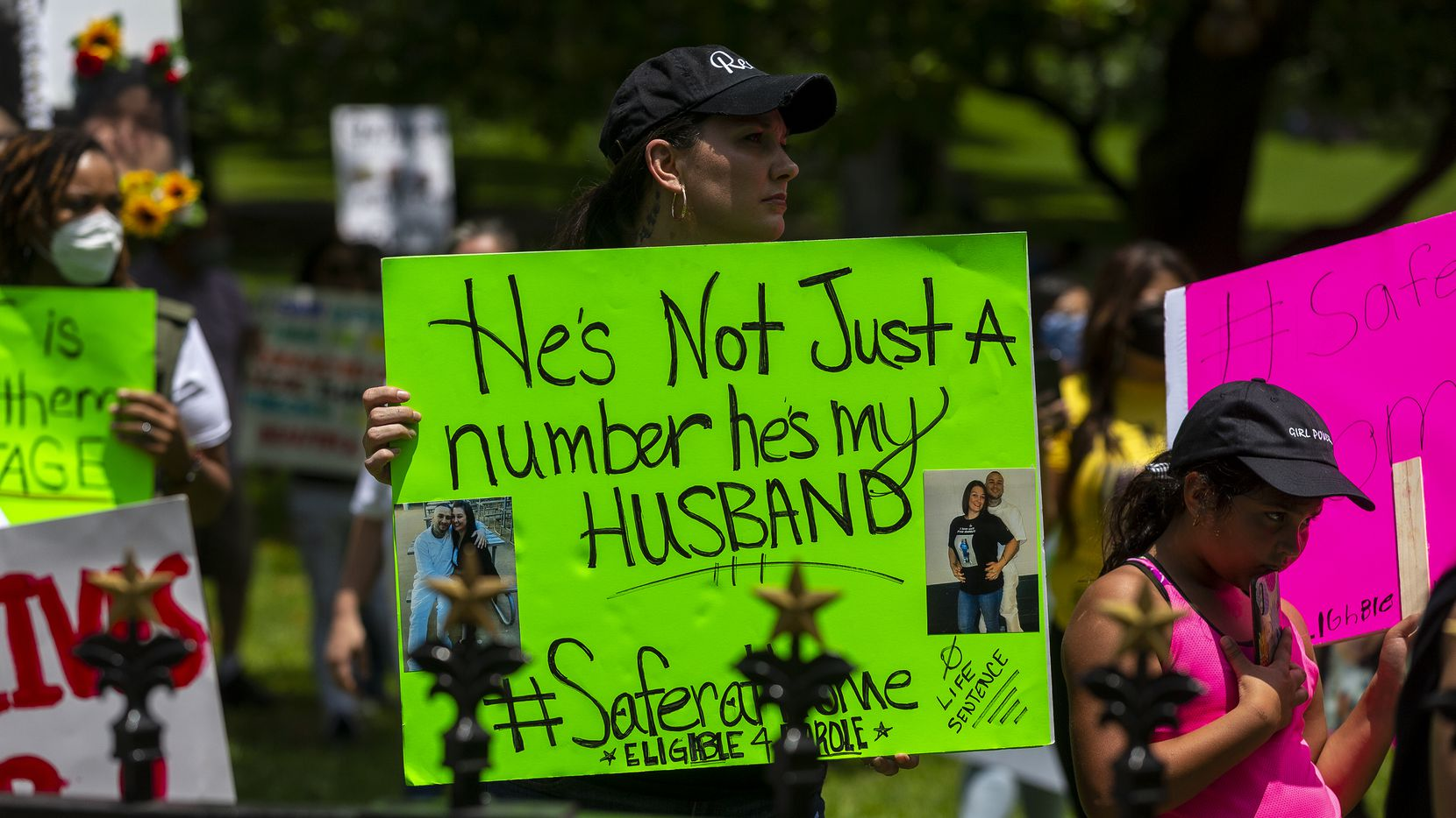 Family members of people incarcerated in Texas prisons held a rally outside of the governor's mansion to draw attention to the coronavirus in Texas prisons, Saturday, May 23, 2020. (Stephen Spillman/Special Contributor)
