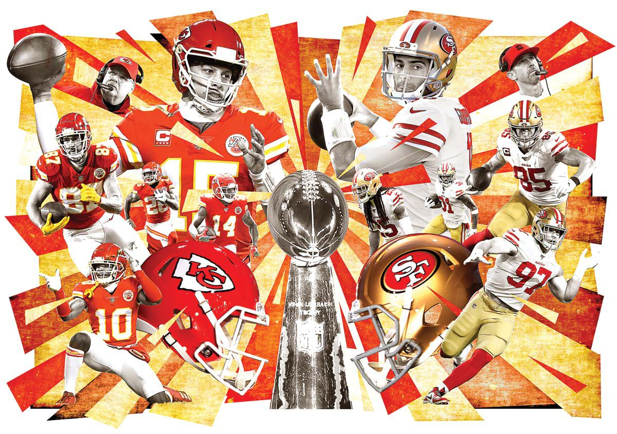 The Kansas City Chiefs and San Francisco 49ers will clash Sunday, February 2 in Super Bowl LIV (Staff illustration).