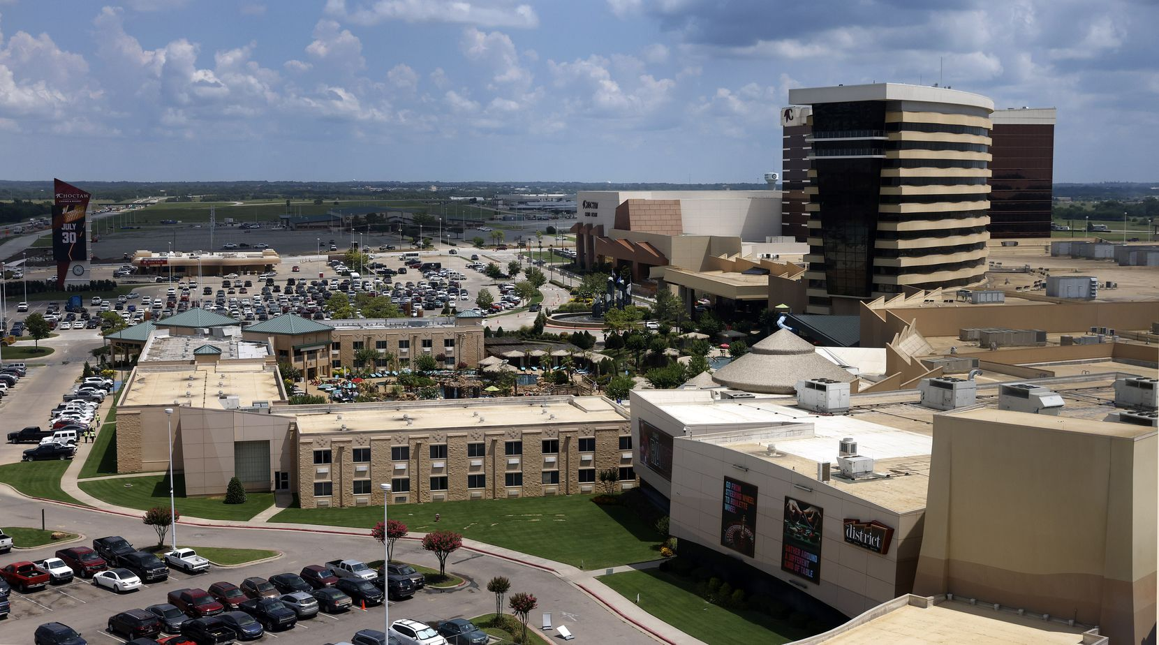 The Choctaw Casino and Resort is pictured from the new 21-story Sky Tower complex.