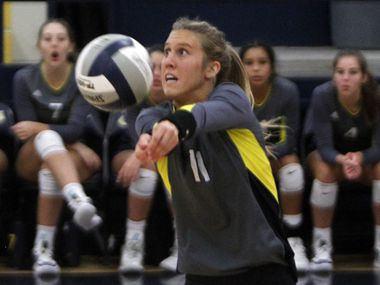 Highland Park's Sydney Breon hits the ball during a 25-21, 25-13, 25-19 win over Waxahachie on Tuesday. (Steve Hamm/ Special Contributor)