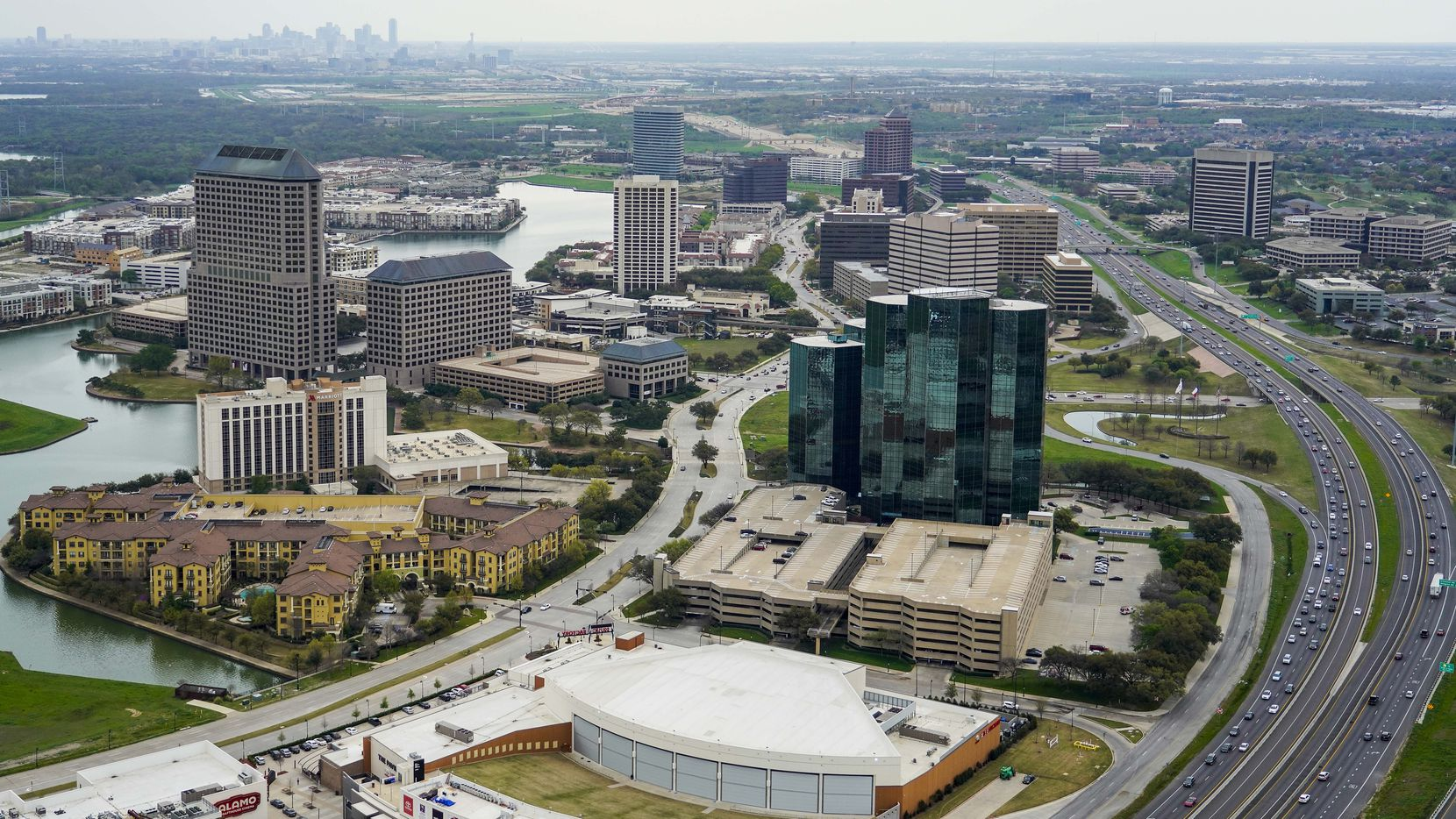 Aerial view of Las Colinas on Thursday, March 12, 2020, in Irving.