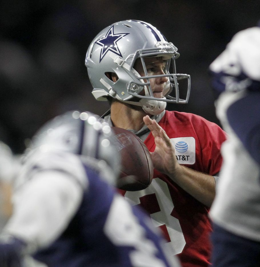 Dallas Cowboys backup quarterback Garrett Gilbert (3) prepares to pass during a team practice session. The Cowboys conducted their final public football practice session of training camp inside The Star at the Ford Center in Frisco on August 28, 2021. (Steve Hamm/ Special Contributor)
