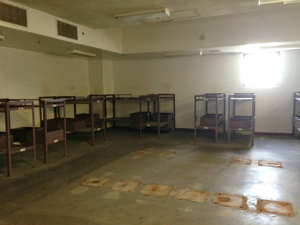 One of the larger sleeping rooms in the old Dawson jail. (Robert Wilonsky/Staff)