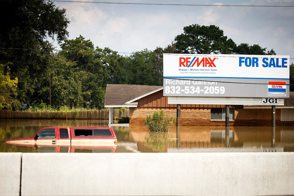 Floodwater from Hurricane Harvey remained around a house on the service road of Interstate 10 near Addicks Reservoir in Houston days after the storm.