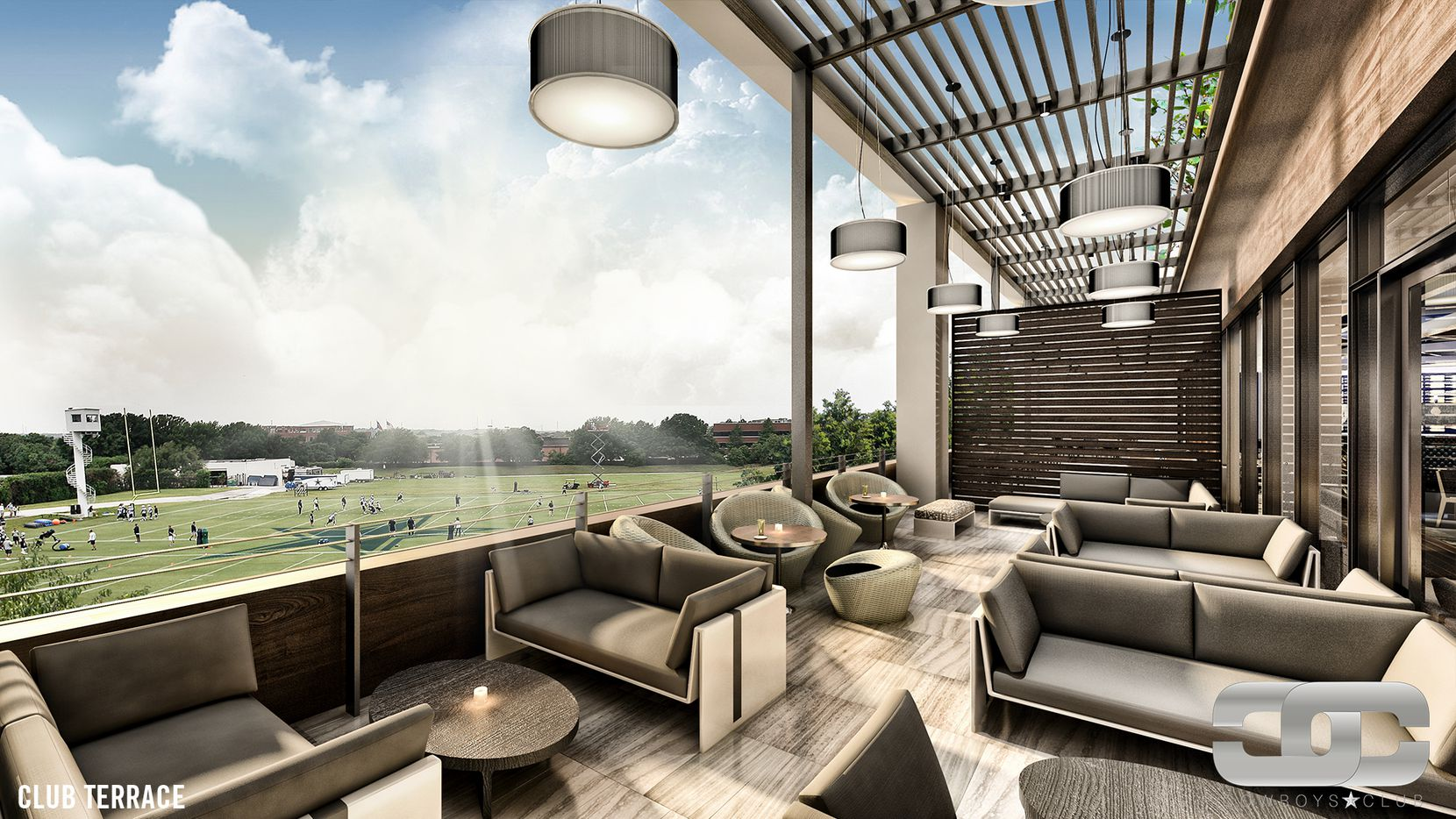 A rendering of the terrace in the members-only Cowboys Club coming to The Star in Frisco, which will include the Dallas Cowboys headquarters and The Fort Center at The Star.