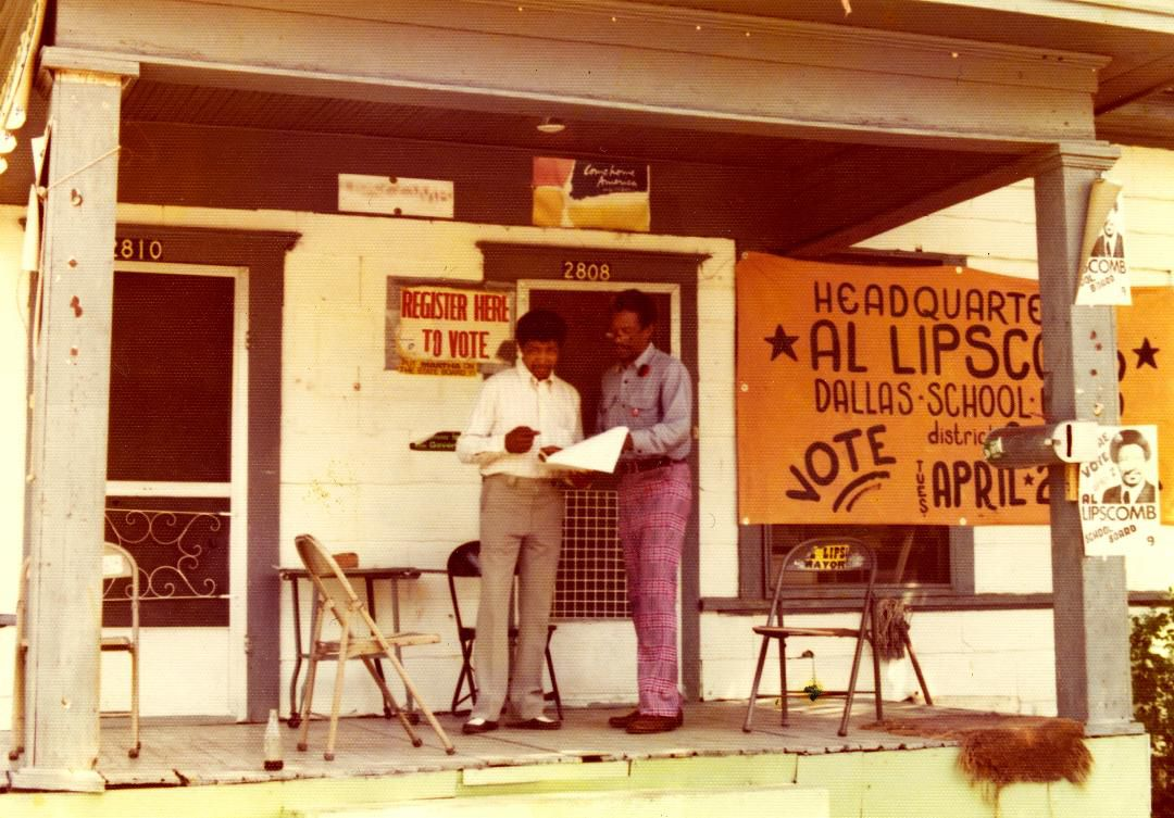 Al Lipscomb (right) talked with a resident on the porch of his South Dallas Information Center headquarters, a duplex at 2808 and 2810 Pennsylvania Ave., during his unsuccessful 1974 bid for the Dallas School Board.