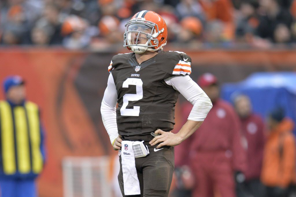 FILE - In this Dec. 14, 2014, file photo, Cleveland Browns quarterback Johnny Manziel reacts after being sacked in the third quarter of an NFL football game against the Cincinnati Bengals, in Cleveland. Troubled Browns quarterback Johnny Manziel was cited for driving with expired license plates last weekend. According to police in North Olmsted, Ohio, Manziel was stopped at 8:28 a.m. on Saturday, Jan. 3, 2016, while driving on Interstate 480  (AP Photo/David Richard, File)