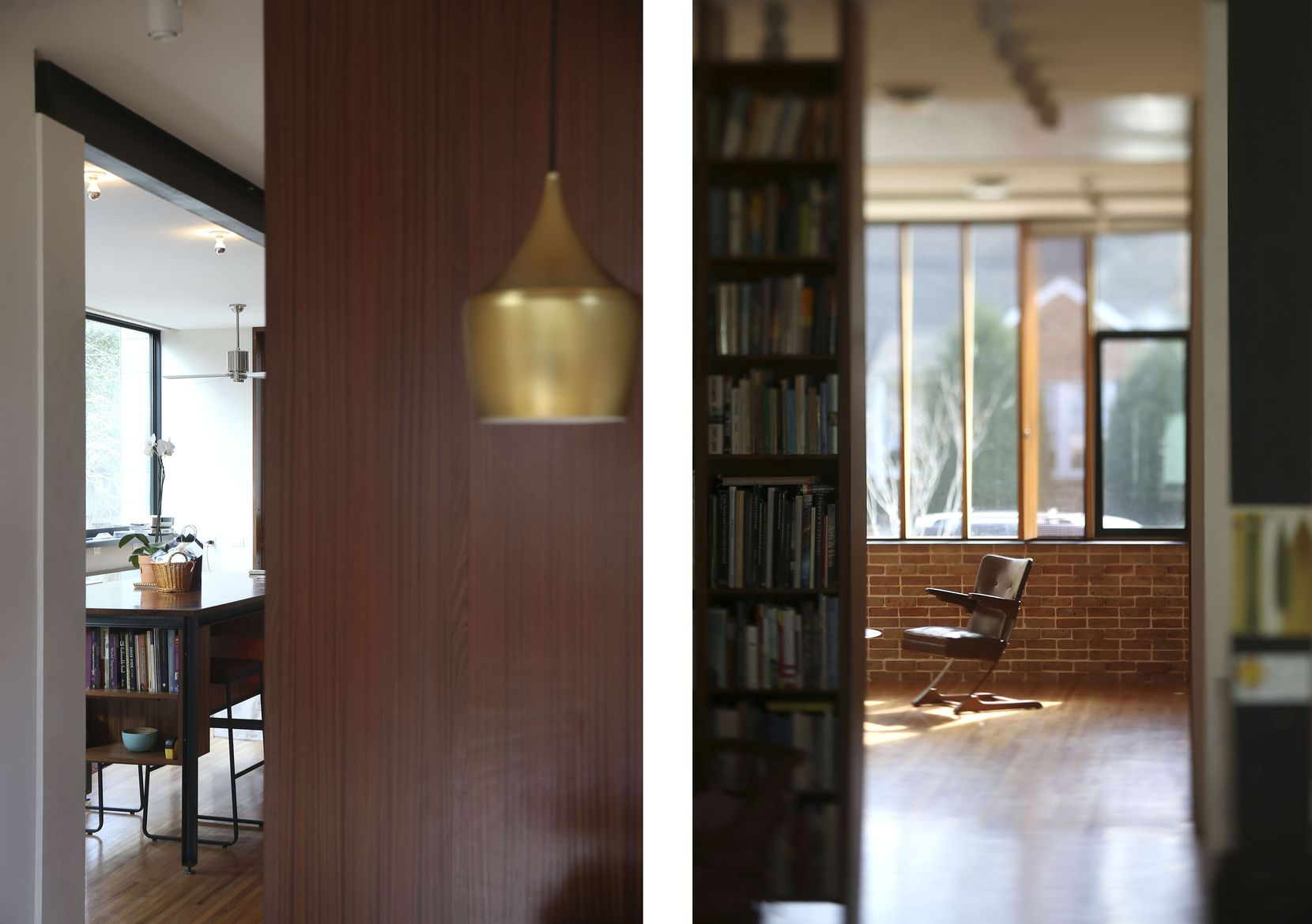 LEFT: A suspended light hangs over the dining table in an area backed by a smooth, wood-paneled surface that separates the public, front rooms from the private rooms on the first floor. 