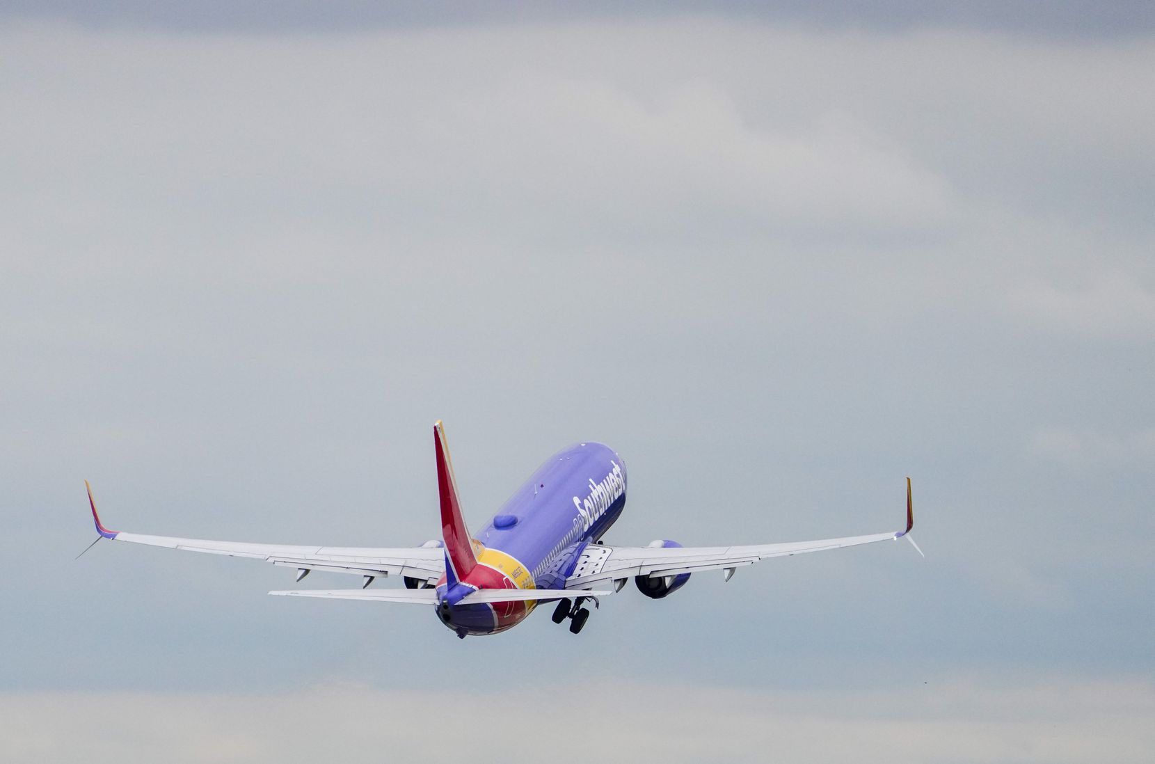 A Southwest Airlines Boeing 737-800 takes off at Love Field on Wednesday, Sept. 23, 2020, in Dallas.