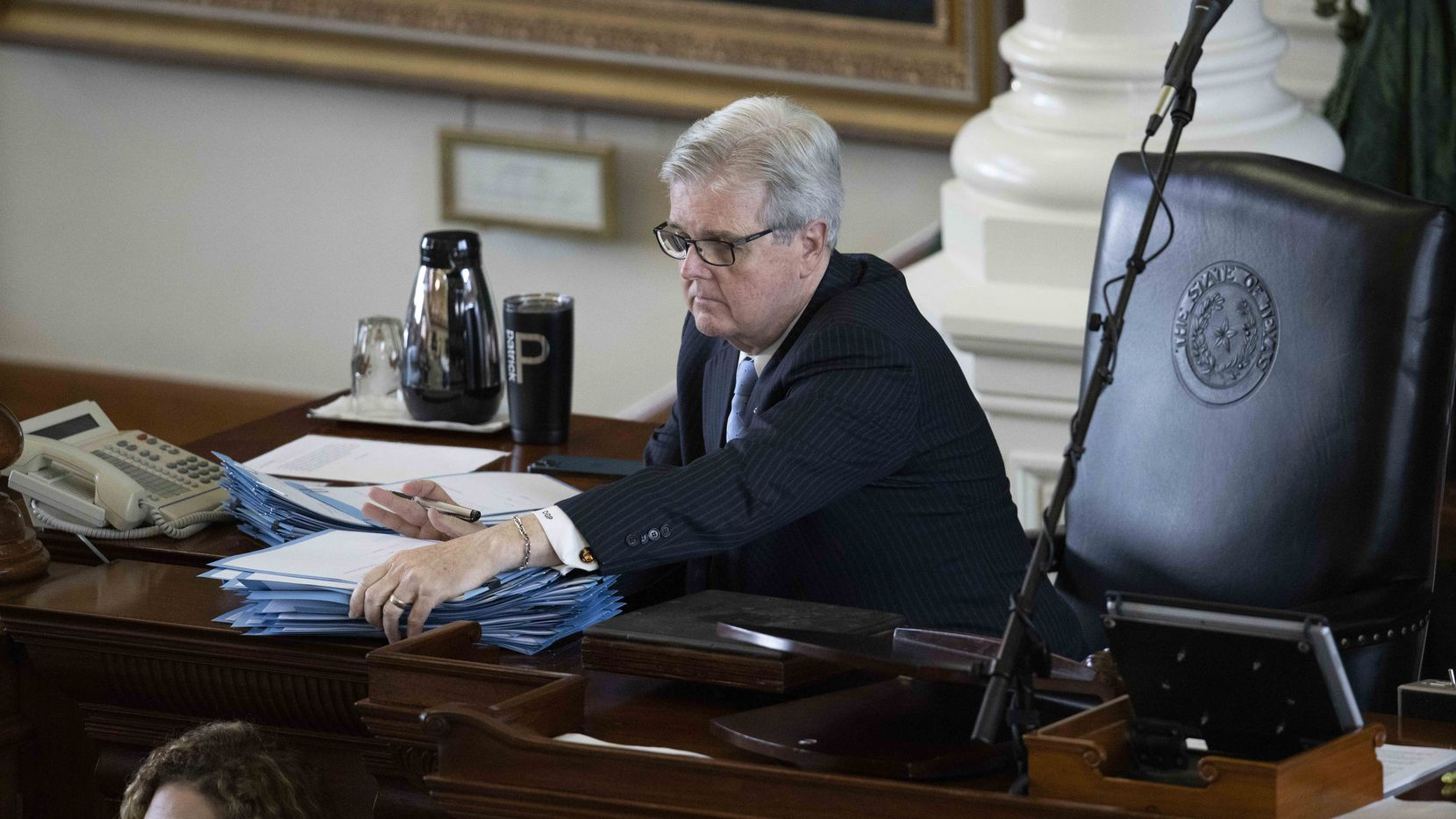 Lt. Gov. Dan Patrick controls the Texas Senate in action during May, 2021 of the the 87th Texas Legislative Session. The lieutenant governor said one item he would push the governor to add to his call of a special session would be ratepayer assistance to help Texans cope with increased energy bills caused by the February's winter storm.