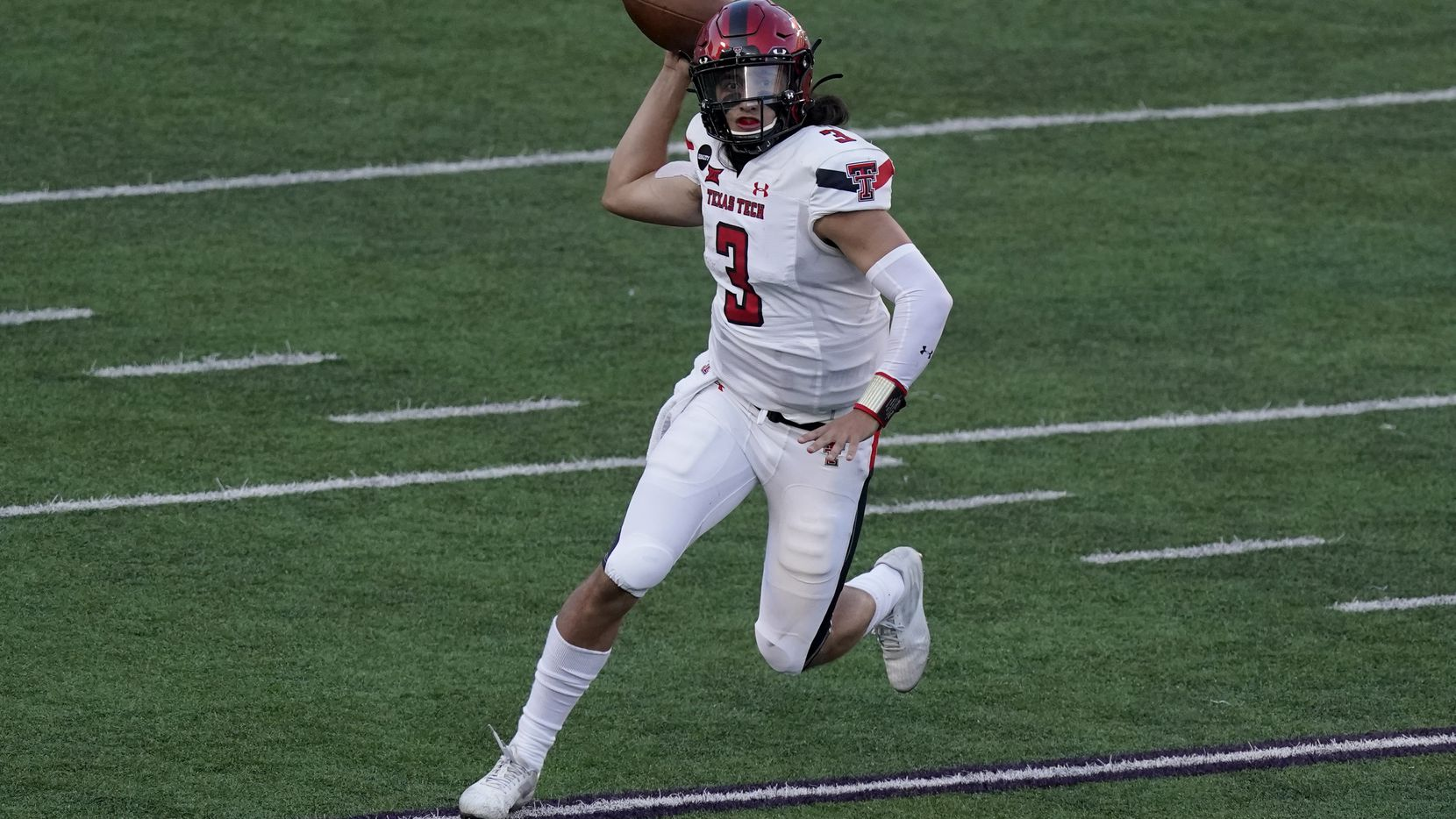 FILE - Texas Tech quarterback Henry Colombi looks to throw the ball during the second half of a game against Kansas State on Saturday, Oct. 3, 2020, in Manhattan, Kan.