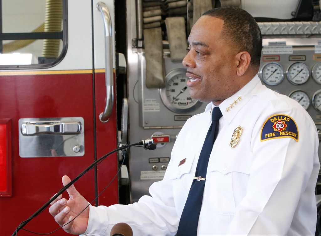 Dallas Fire-Rescue Chief Dominique Artis speaks to the news media.