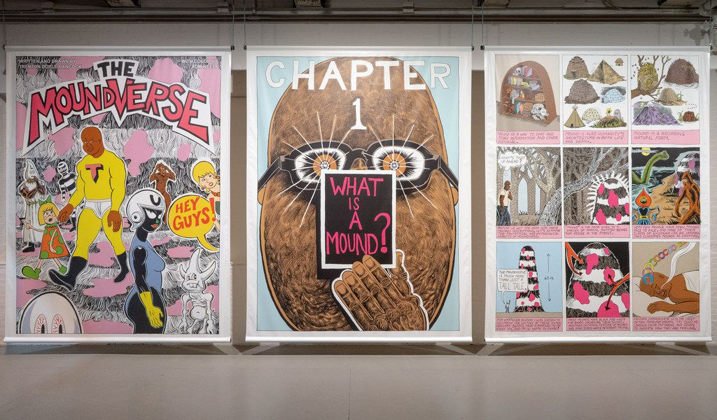 """Texas artist Trenton Doyle Hancock has built a whole world for his """"Mind of the Mound: Critical Mass"""" exhibition at the Massachusetts Museum of Contemporary Art.   These are panels from his upcoming graphic novel."""