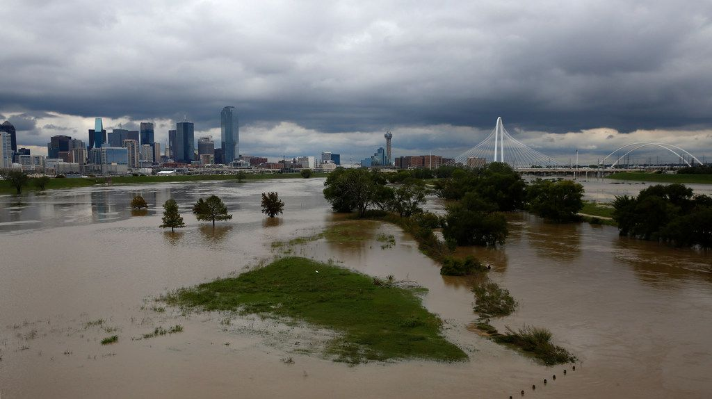 The rain-swollen Trinity River in Dallas is shown on Oct. 25, 2018. Dallas received a record-breaking amount of rain in October.