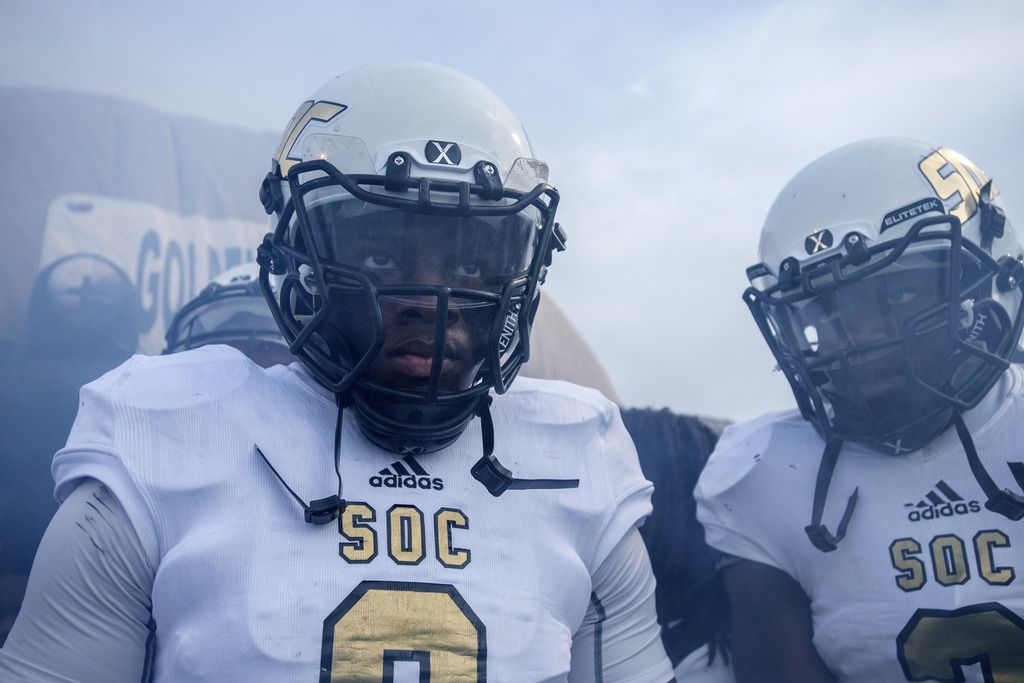South Oak Cliff senior linebacker Ra'Kwuan Pinkston (9) and senior running back Rapheal Williams (3) prepare to take the field before a high school football game against Skyline on Friday, August 30, 2019 at John Kincaide Stadium in Dallas. (Jeffrey McWhorter/Special Contributor)