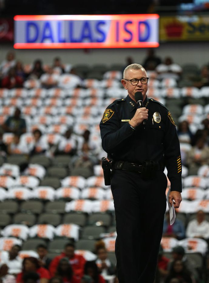 Dallas ISD Police Chief Craig Miller speaks to Dallas ISD students during an active shooter prevention and situational awareness training at American Airlines Center.
