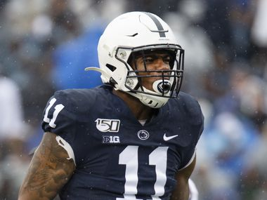 Penn State linebacker Micah Parsons (11) during an NCAA college football game in State College, Pa., on Saturday, Sept. 14, 2019. (AP Photo/Barry Reeger)