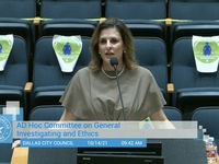 Erin Nealy Cox, former U.S. Attorney for the Northern District of Texas, speaks to Dallas city officials in Dallas City Hall on Oct. 14, 2021.
