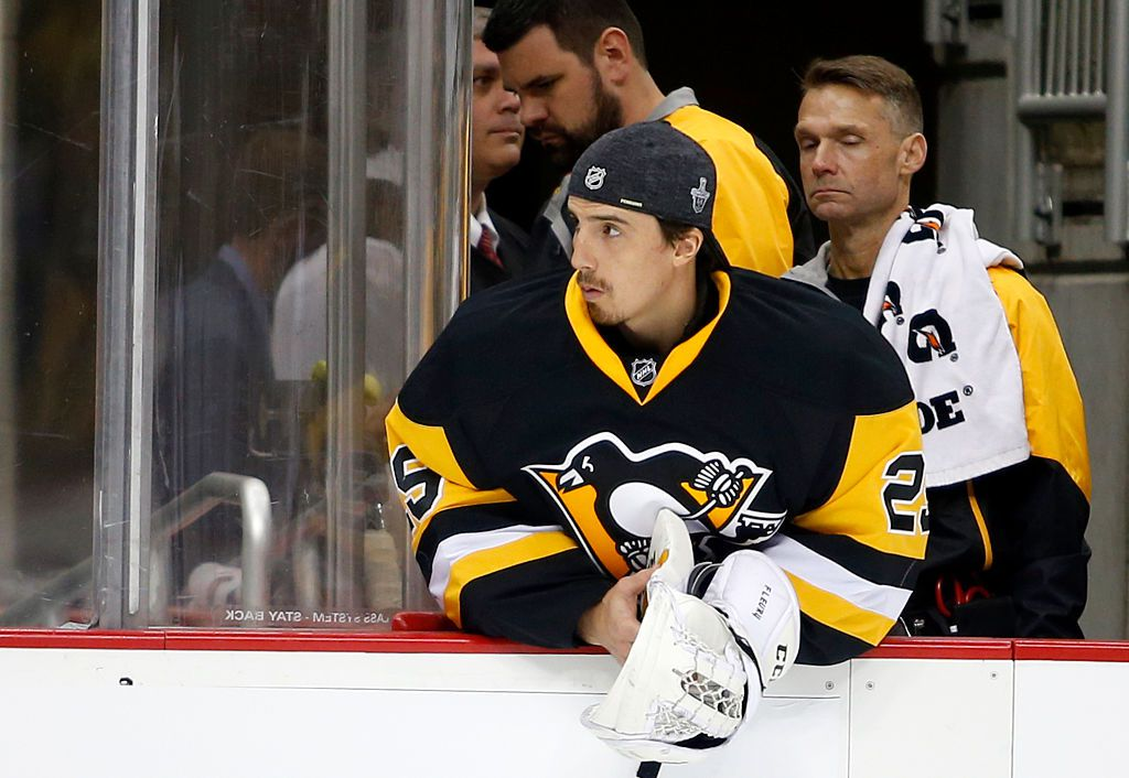 PITTSBURGH, PA - MAY 02:  Marc-Andre Fleury #29 of the Pittsburgh Penguins looks on from the bench in Game Three of the Eastern Conference Second Round against the Washington Capitals during the 2016 NHL Stanley Cup Playoffs at Consol Energy Center on May 2, 2016 in Pittsburgh, Pennsylvania.  (Photo by Justin K. Aller/Getty Images)