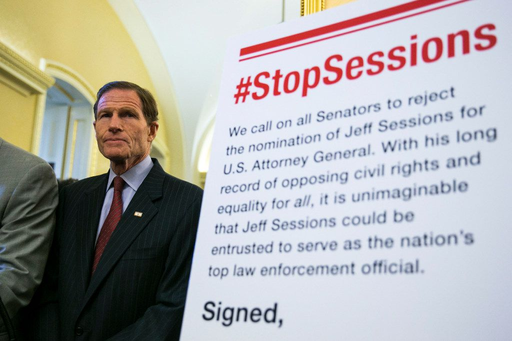 Sen. Richard Blumenthal. D-Conn., during a news conference calling for the Senate to reject Sen. Jeff Sessions, R-Ala., as nominee for attorney general, on Capitol Hill in Washington, Feb. 7, 2017.