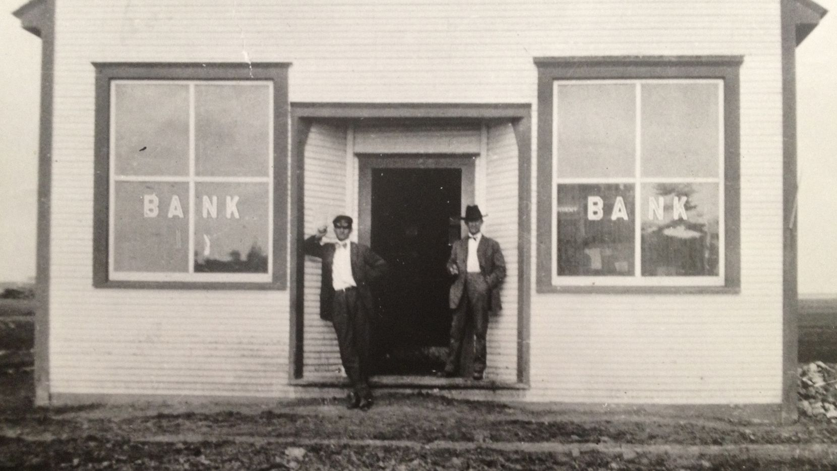 On Jan. 25, 1912 W.E. McLaughlin (right) opened the doors to his bank in the new town of Ralls with the help of his middle son, Edd McLaughlin. The bank was founded with $11,000 under the name of W.E. McLaughlin, Banker, Unincorporated. It's now Vista Bank.