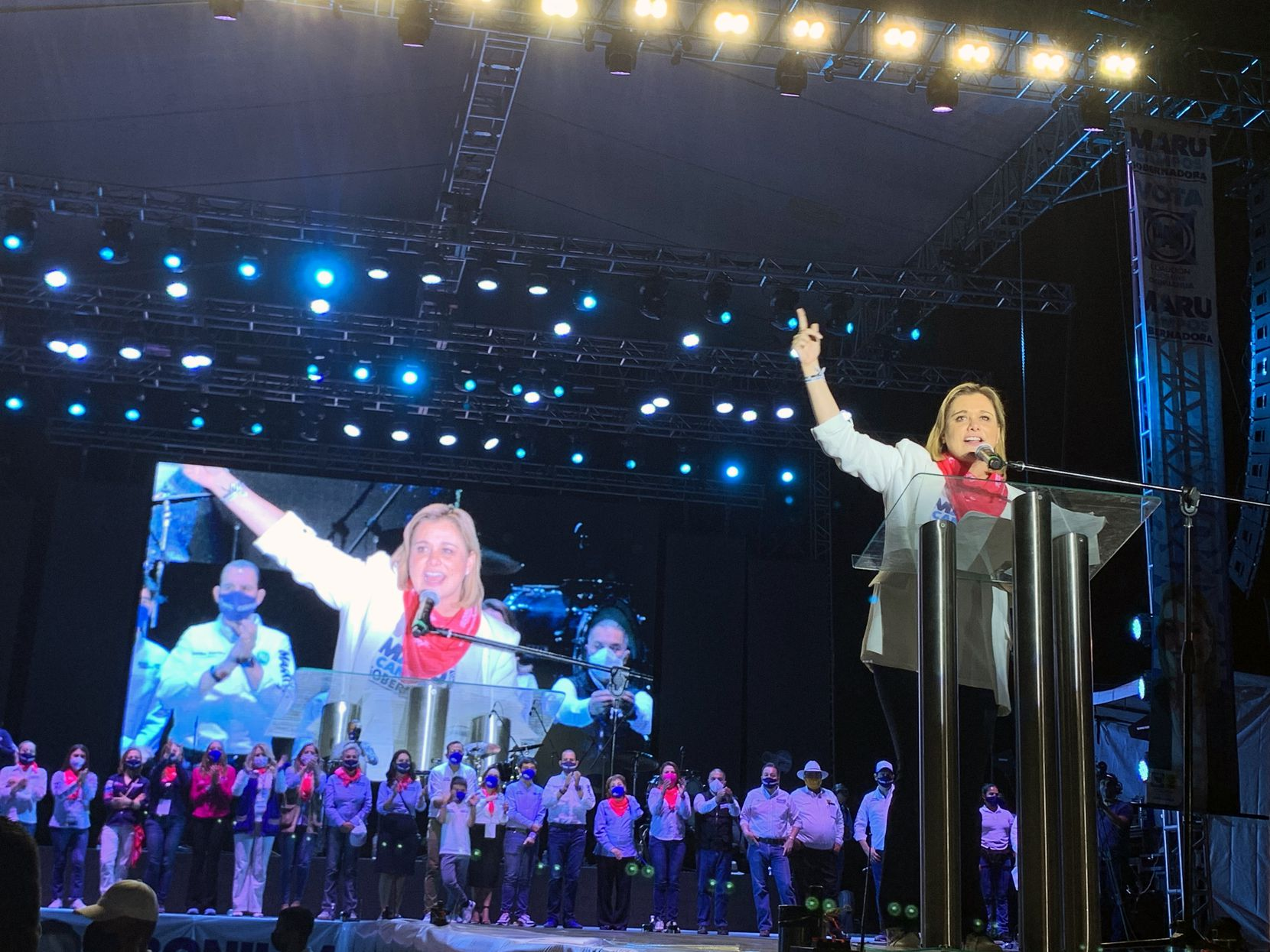 María Eugenia Campos Galvan, known as Maru, at a May 28 rally. She will be the new governor of Mexico's Chihuahua state.