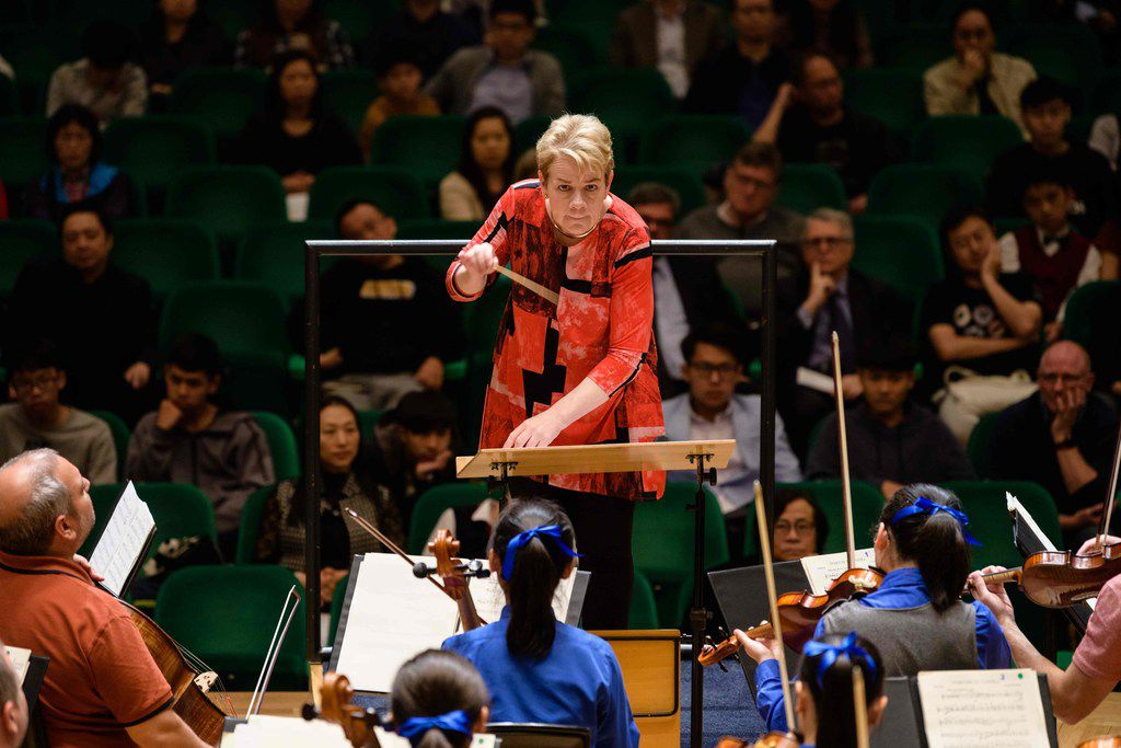 Conductor Marin Alsop leads a rehearsal of the Sao Paulo Symphony Orchestra, the Diocesan Boys' School Orchestra and the Diocesan Girls' School Orchestra on Feb. 20, 2019, at the Hong Kong Arts Festival.