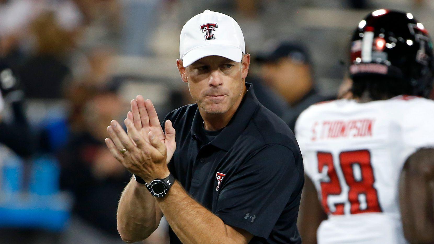 Texas Tech head coach Matt Wells prior to an NCAA college football game against Arizona, Saturday, Sept. 14, 2019, in Tucson, Ariz. (AP Photo/Ralph Freso) ORG XMIT: NYOTK