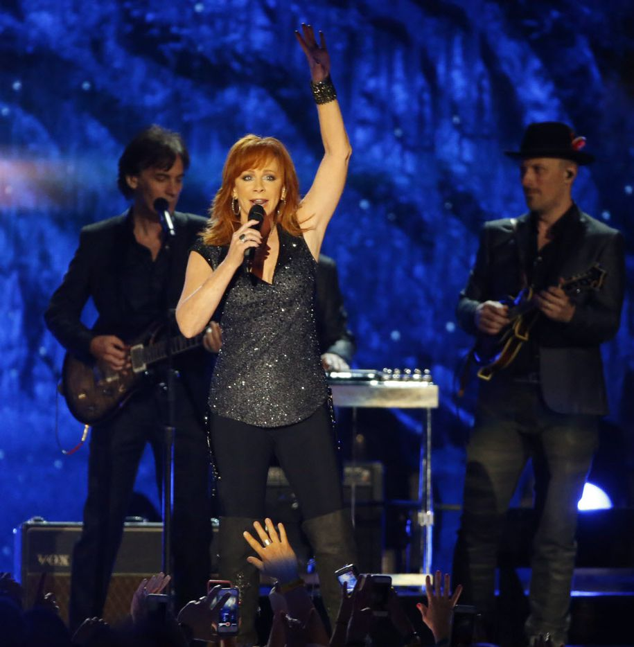Reba McEntire performs during the 2015 Academy of Country Music Awards Sunday, April 19, 2015 at AT&T Stadium in Arlington, Texas.