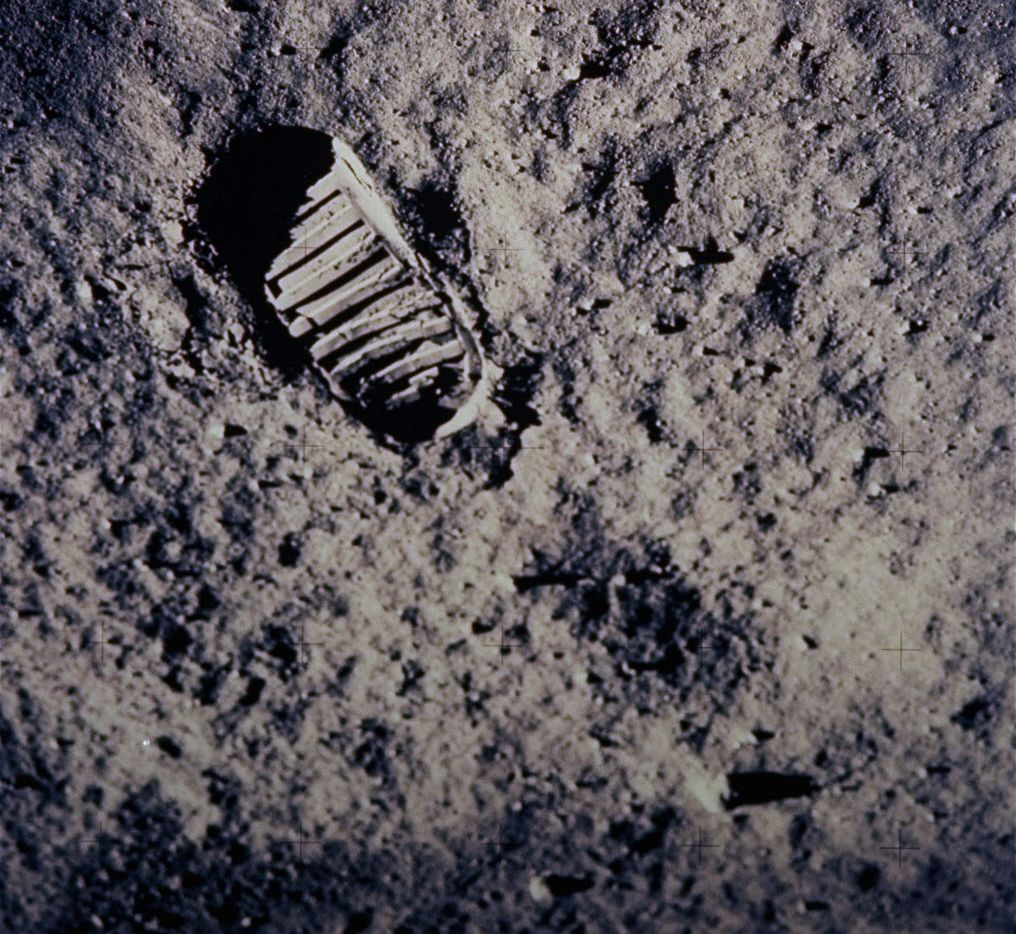 In this July 20, 1969, file photo provided by NASA, a footprint left by one of  the astronauts of the Apollo 11 mission is shown in the soft, powdery surface of the moon.