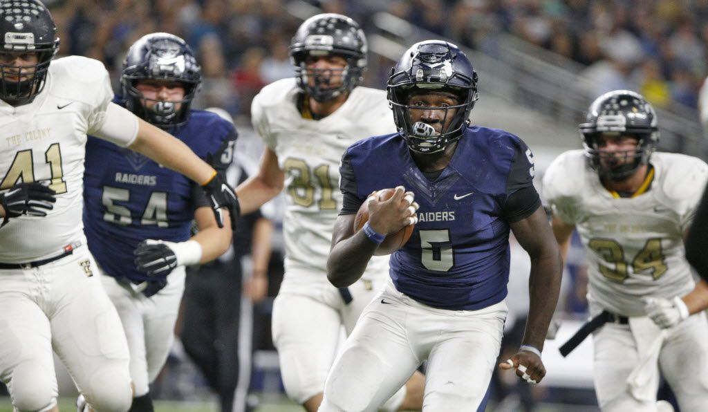 Wylie East's Eno Benjamin (5) runs the ball in for a touchdown  against The Colony in the second half of the game for high school playoff football game at AT&T Stadium in Arlington, Texas November 13, 2015. Wylie East won the game 71-48  (Nathan Hunsinger The Dallas Morning News)