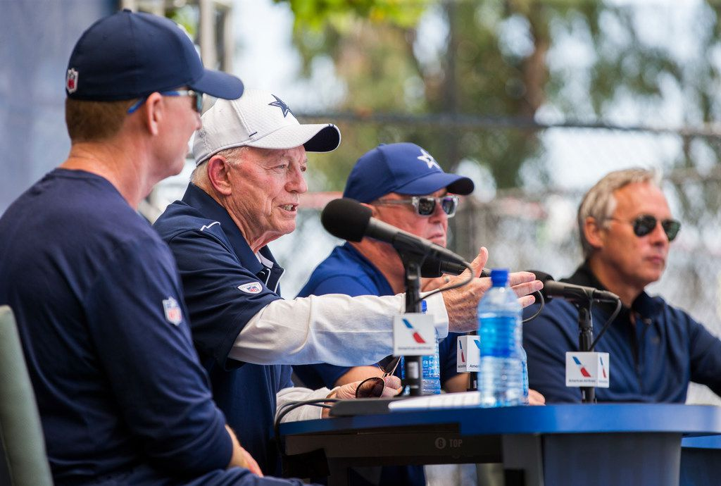 Dallas Cowboys Head Coach Jason Garrett, Owner Jerry Jones, Executive Vice President and CEO Stephen Jones, and Senior Vice President of public relations and communications Rich Dalrymple speak to reporters during an opening press conference at training camp in Oxnard, California on Friday, July 26, 2019. (Ashley Landis/The Dallas Morning News)