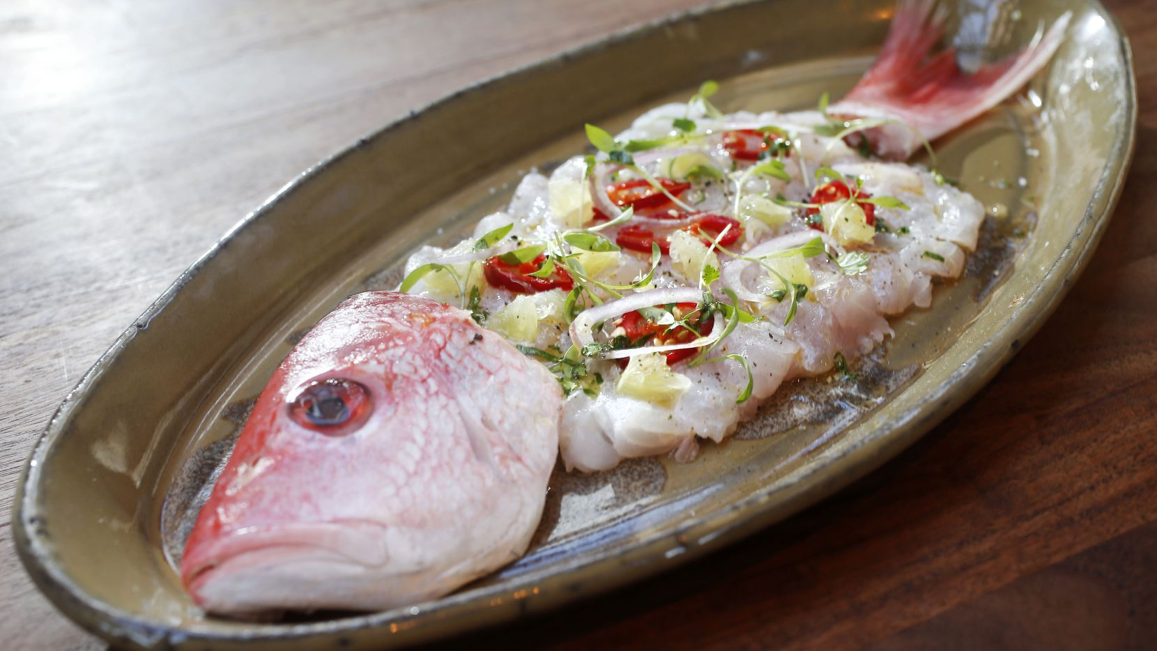 Whole fish, ceviche-style, was one of the secret menu items at Water Grill, we wrote in 2018. Water Grill closed in early 2020 in Uptown Dallas.