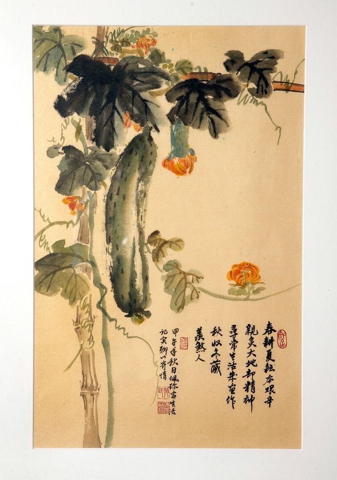 Local artist Jenney Chang's Chinese style ink on rice paper painting, Autumn Harvest, Winter Storage, depicts a loofa vine and squash that she grew with her husband Dennis in their Plano garden.