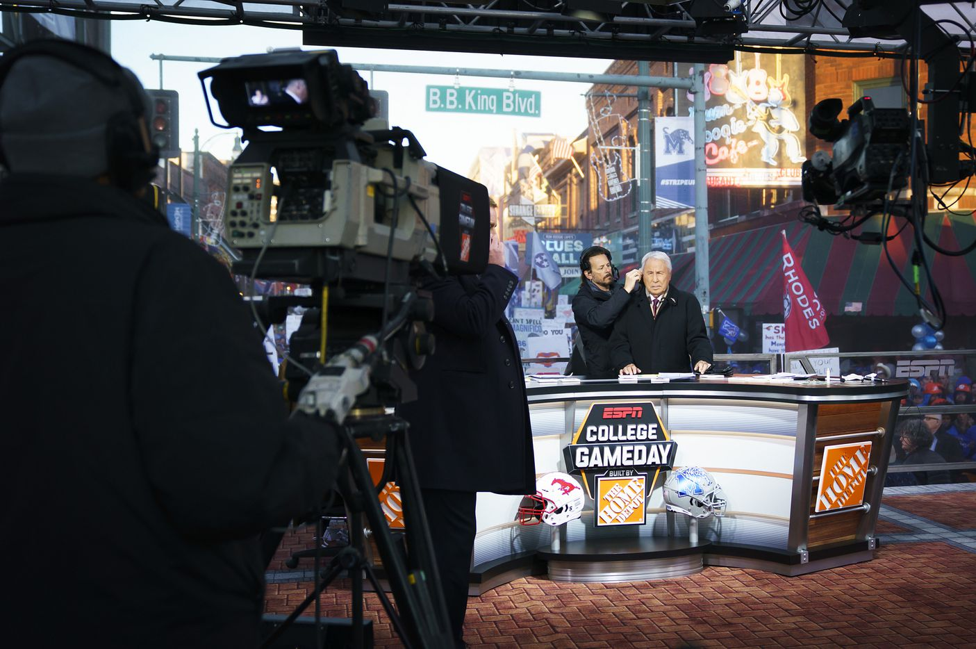 Lee Cosro prepares for the start of ESPN College GameDay before an NCAA football game  between Memphis and SMU on Saturday, Nov. 2, 2019, in Memphis, Tenn.