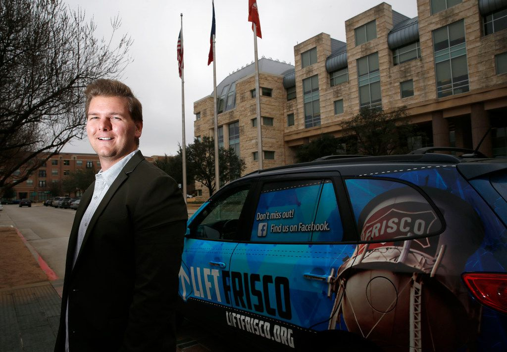 Grant Diamond, posing in front of Frisco City Hall, is locked in a court battle over the name of his new church, Lift Frisco.