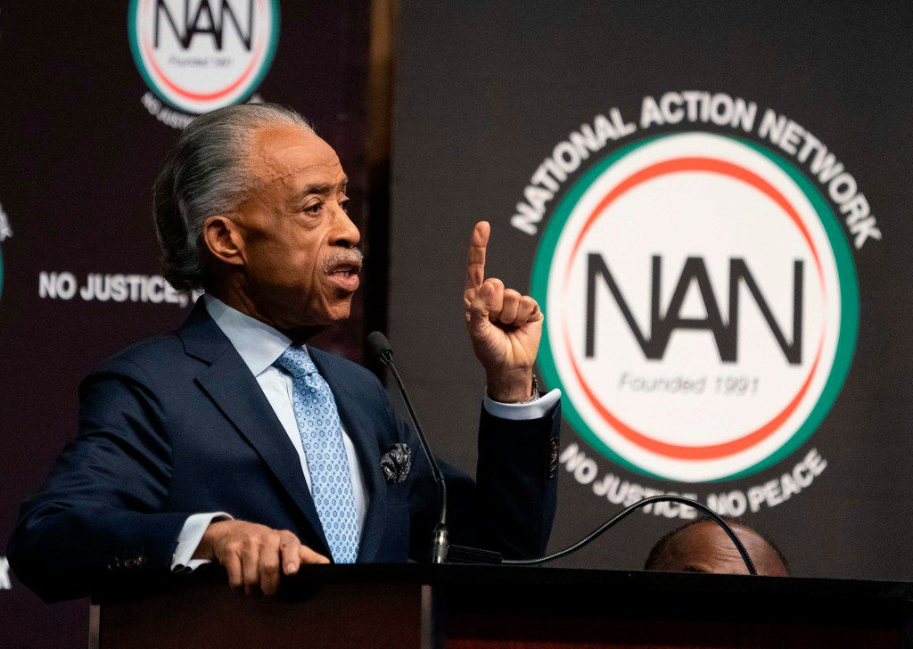 Rev. Al Sharpton speaks during a gathering of the National Action Network in New York.