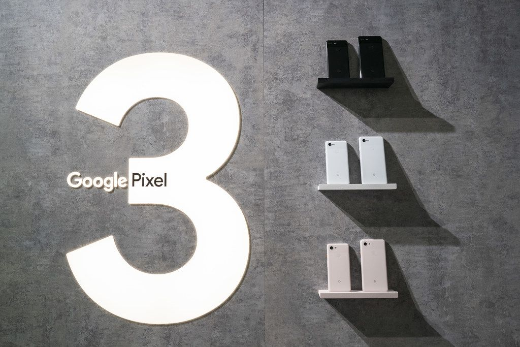 The new Google Pixel 3 and Pixel 3 XL smartphones are displayed during a Google product release event, October 9, 2018 in New York City.