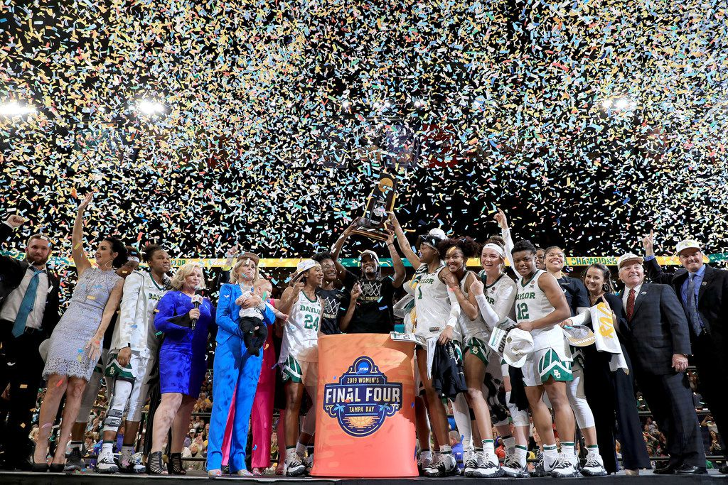 TAMPA, FLORIDA - APRIL 07:  The Baylor Lady Bears celebrate with the NCAA trophy after their teams 82-81 win over the Notre Dame Fighting Irish to win the championship game of the 2019 NCAA Women's Final Four at Amalie Arena on April 07, 2019 in Tampa, Florida. (Photo by Mike Ehrmann/Getty Images) ***BESTPIX***