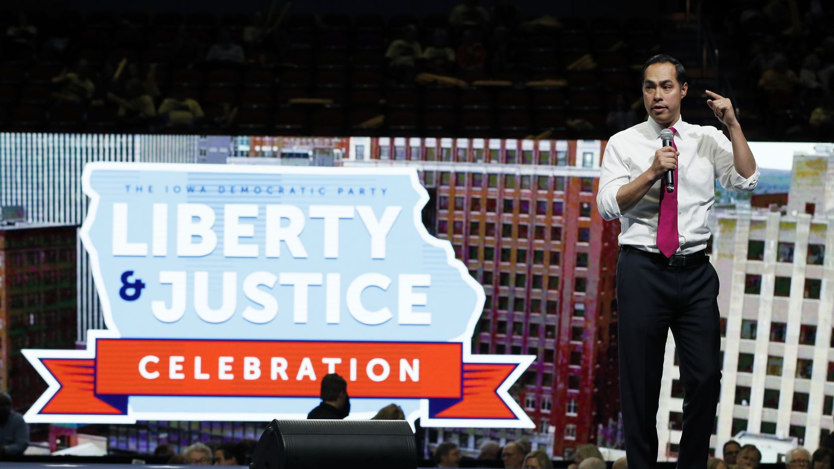 Democratic presidential candidate former U.S. Secretary of Housing and Urban Development Julian Castro speaks during the Iowa Democratic Party's Liberty and Justice Celebration, Friday, Nov. 1, 2019, in Des Moines, Iowa. (AP Photo/Charlie Neibergall)