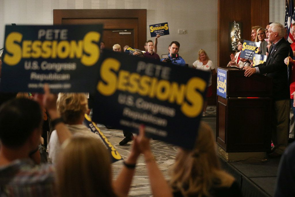 U.S. representative Pete Sessions, of the 32nd district, spoke at a campaign kickoff event at The Highland Dallas hotel in Dallas in June. Sessions, a Republican and the incumbent, is running against Democrat Colin Allred.