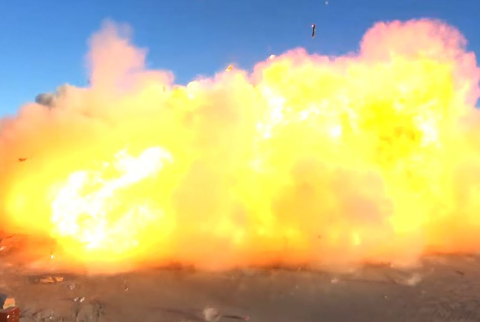 This SpaceX video frame grab image shows SpaceX's Starship SN8 rocket prototype crashing on landing at the company's Boca Chica, Texas facility during an attempted high-altitude launch test on Dec. 9, 2020.