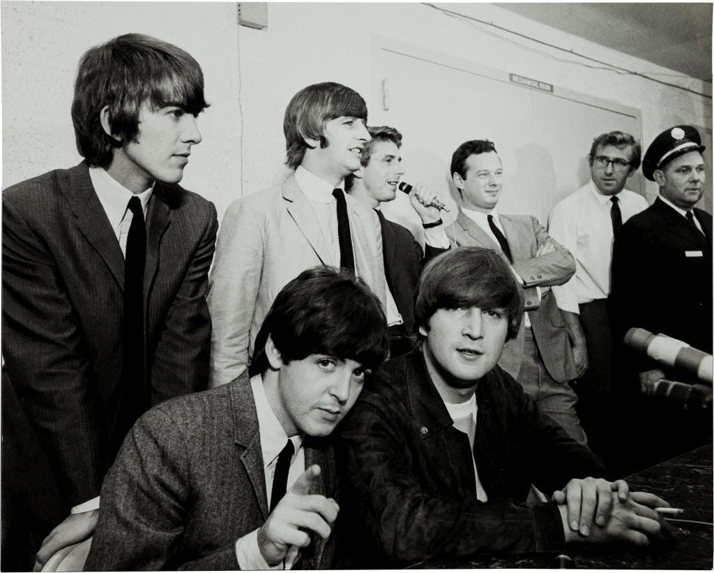 The Beatles at a press conference in Dallas in 1964.