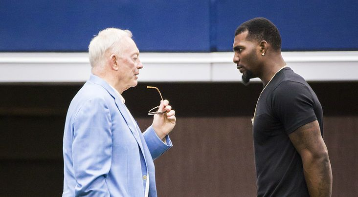 Dallas Cowboys wide receiver Dez Bryant (right) talks with team owner Jerry Jones on the sidelines during the team's final minicamp practice at AT&T Stadium on Thursday, June 18, 2015, in Arlington. (Smiley N. Pool/The Dallas Morning News)