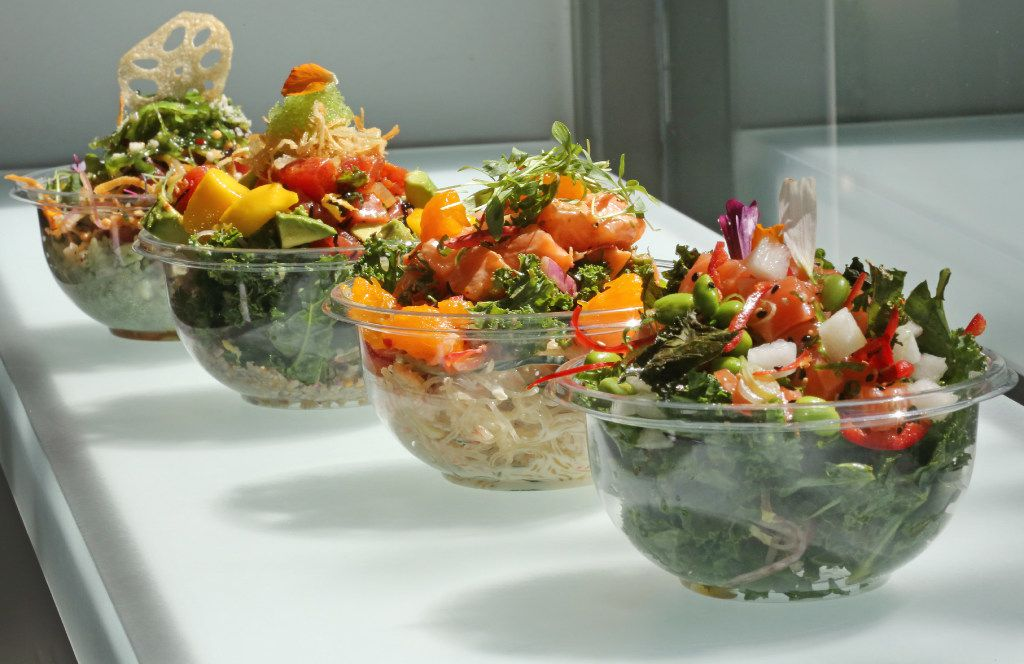 Assorted poke bowls at Pok the Raw Bar (Louis DeLuca/The Dallas Morning News)