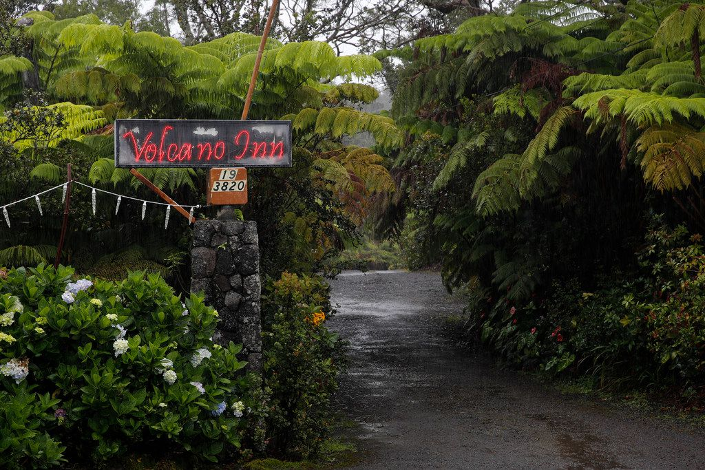 The entrance to Volcano Inn is photographed in Volcano, Hawaii. The village is located on the border of Hawaii Volcanoes National Park, just a few miles east of Kilauea's summit crater.