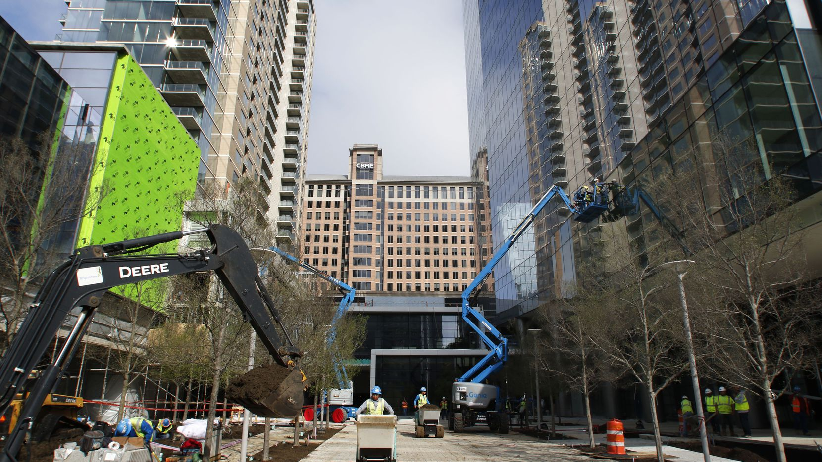 Construction is winding down on the Trammell Crow Co. Park District project overlooking Klyde Warren Park.