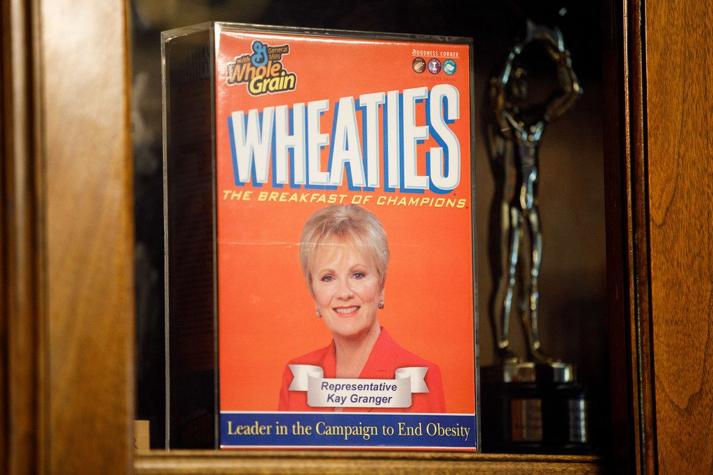 A box of Wheaties with Congresswoman Kay Granger's portrait is on display in her office on Capitol Hill. She took office as Fort Worth's first woman mayor in 1991 and began her tenure in Congress in 1997.